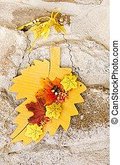 Autumn still life decoration over stone background