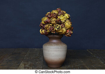 Decorative roses made from autumn maple leaves