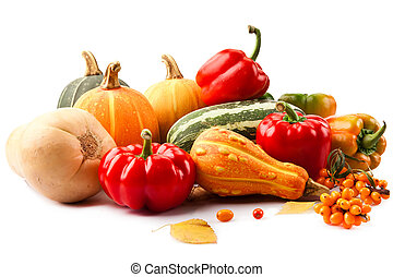 autumn still-life filled with vitamins from red paprika,...