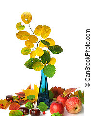 Autumn still life isolated on white background