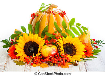 Autumn still life with seasonal fruits,vegetables and...