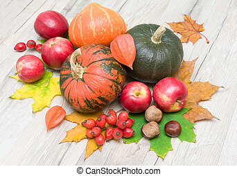 autumn still life. pumpkin, apples, chestnuts, berries, rose hips, cape gooseberries and autumn maple leaves.