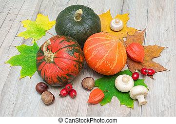 autumn still life. three pumpkins, chestnuts, berries, rose hips, mushrooms and autumn maple leaves.