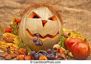 Autumn still-life with funny pumpkin