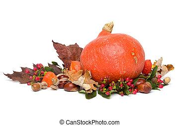 Autumn - Still-Life with hokkaido Pumpkin - Isolated on White