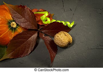Autumn still life with leaves, pumpkin and nuts