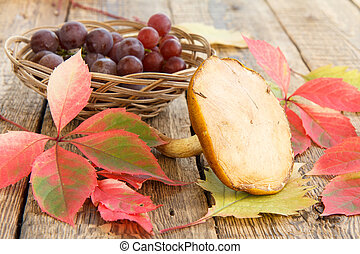 Autumn still life with mushroom, grapes in wicker basket, green and red leaves
