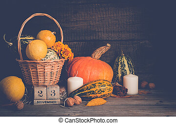 Autumn still life with pumpkins and candles. Thanksgiving concept, copy space