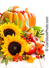 Autumn still life with seasonal fruits, vegetables and ...