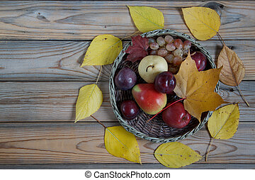 Autumn still life with various fruits are lying in a wicker basket. Autumn leaves. Copy space for your text.