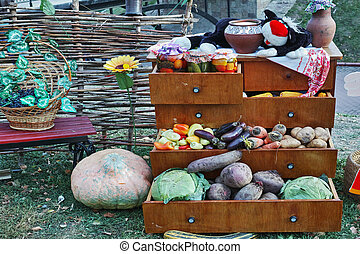 Autumn still life with vegetables