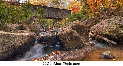Autumn Stream - Stream under Elder Covered Bridge in ...