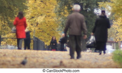 autumn street crowd