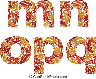 Autumn style vector font, typeset with eco floral ornament. M, n, o, p, q.