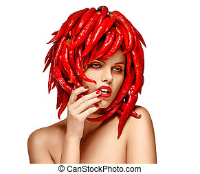 Autumn Styled Woman with Hot Red Chili Pepper as Headdress. Arts