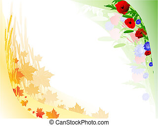 autumn summer floral frame