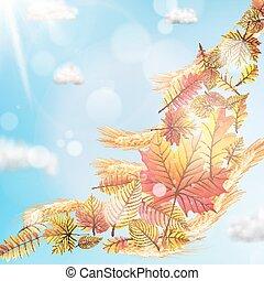 Autumn sun with leaves on blue sky. EPS 10
