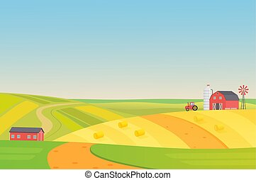 Autumn sunny eco harvesting farm landscape with agriculture vehicles, windmill, silage tower and hay. Colorful flat vector illustration.