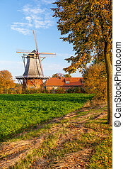 Autumn sunny landscape with colorful view Lower Saxony