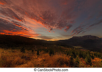 Autumn sunrise in Gorbea Natural Park
