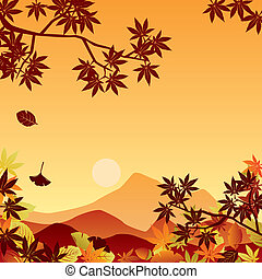 Autumn sunset. Illustration vector.