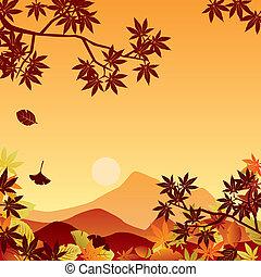 Autumn sunset. Illustration vector.