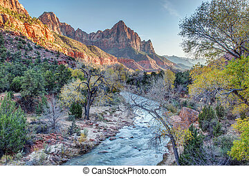 Autumn Sunset on the Watchman in Zion National Park, Utah