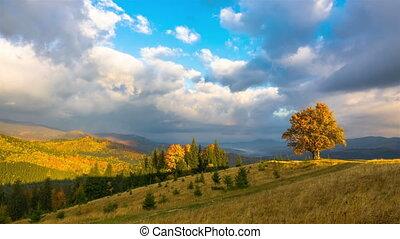 Autumn. Sunset Sky in the Mountains