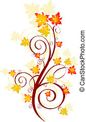 Decorative swirling autumn design. Vector