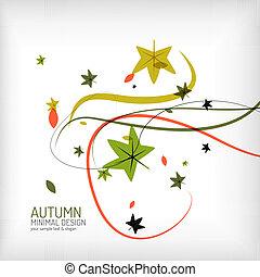 Autumn swirl, plant and leaves, minimal