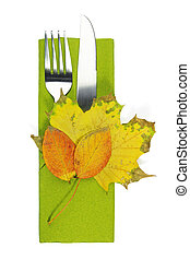 autumn table seeting with leaves