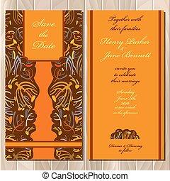 Autumn tansy wedding invitation card. Printable Vector illustration