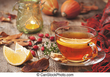 autumn tea with ginger, lemon