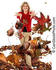 Autumn Teen Leaves - Beautiful blonde woman throwing dying...