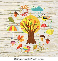 Autumn template background with nature objects, tea, rain...