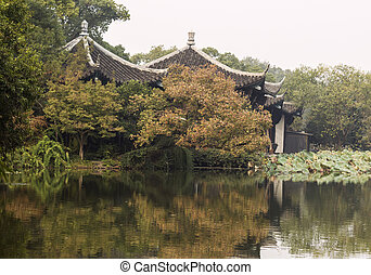 Lake West Temple during Mid Autumn in Hangzhou China