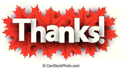 Autumn thanks sign with red maple leaves.