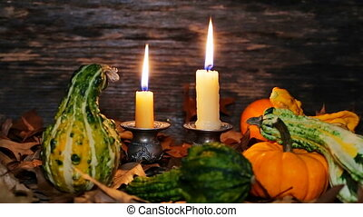 Autumn thanksgiving decor with candles and pumpkin - Autumn...