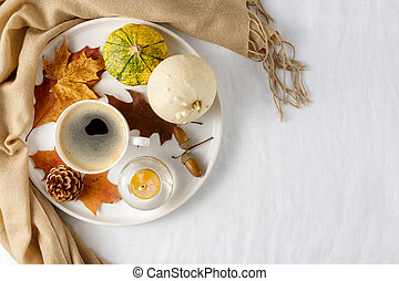 Autumn Thanksgiving holiday decoration with pumpkins