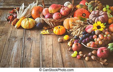 Autumn thanksgiving still life on wooden table