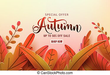 Autumn thanksgiving vector background. Fall frame and text offer sale sign. Red, orange, green abstract leaves in simple flat paper cut style