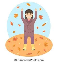 Autumn theme illustrtion - Fallen leaves in autumn season...