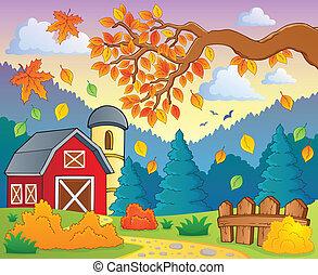 Autumn theme landscape 1 - eps10 vector illustration.