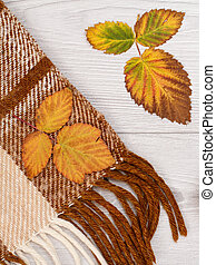 Checkered wool plaid and dry yellow and brown leaves on wooden background. An autumn still llife. Top view.