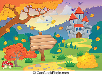 Autumn theme with castle 1 - eps10 vector illustration.
