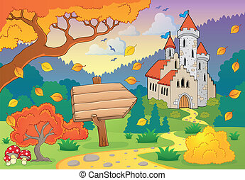 Autumn theme with castle 2 - eps10 vector illustration.