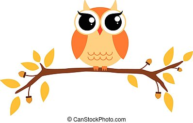Autumn themed cute owl and branch