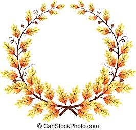 Autumn themed leaves frame