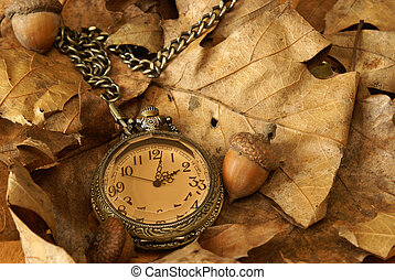 Autumn Time - A pocket watch on some dead oak leaves and...