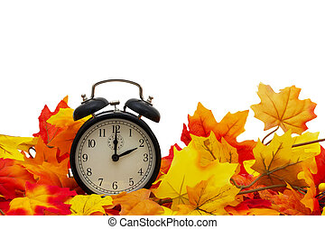 Autumn Time, Autumn Leaves and Alarm Clock isolated on white with space for your message